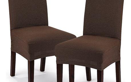 4Home Multielastický potah na židli Comfort hnědá, 40 - 50 cm, sada 2 ks