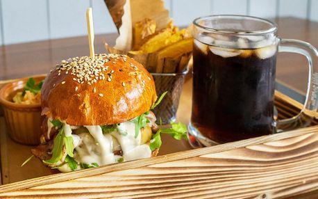 1 či 2 burgery a domácí hranolky: BBQ nebo Cheese