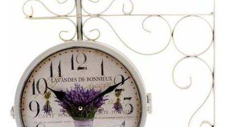Kovové oboustranné hodiny Lavande bouquet, 36 x 40 x 6,5 cm