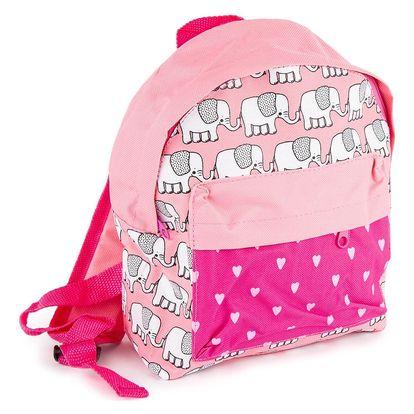 Dětský batoh Sloník růžová, 21 x 11 x 27 cm