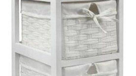 Komoda 3 zásuvky Vintage bílá, 26 x 32 x 63 cm