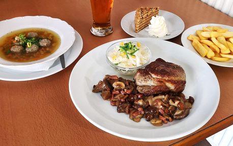 3chodové menu s 300g steakem pro 1 i 2 osoby