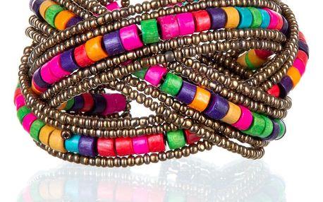 Fashion Icon Náramek copánek s korálky barevné plast etno masivní NM0686-0314