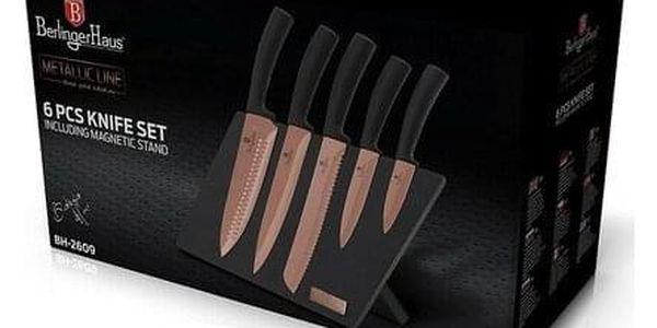Berlinger Haus 6dílná sada nožů s magnetickým stojanem Rosegold Metallic Line2