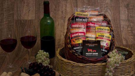 Dárkový koš sušeného masa – 12 balení + masové bonbony jako dárek