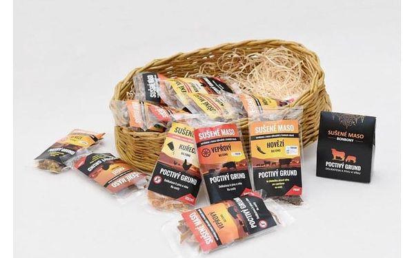 Dárkový koš sušeného masa - 12 balení + masové bonbony, V pohodlí domova (Celá ČR)4