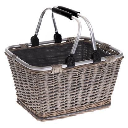 Proutěný košík s kovovými uchy Arlon, 39 x 30 x 24 cm
