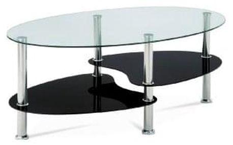 Konferenční stolek, čiré sklo / černé sklo / leštěný nerez GCT-302 GBK1