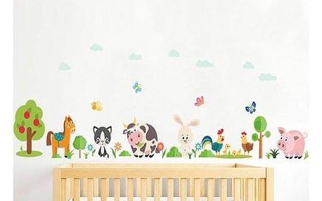 Samolepicí dekorace Česká farma zvířátka, 108 x 38 cm