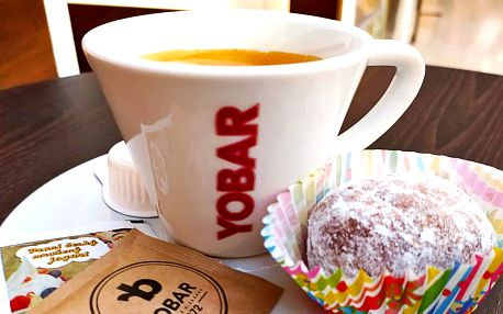 Espresso a nugátový koblížek v Yobaru pro 1 osobu