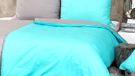 Trade Concept Bavlněné povlečení Doubleface tyrkysová / šedá, 140 x 200 cm, 70 x 90 cm