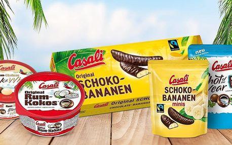 Cukrovinky Casali: čokobanánky i kuličky rum a kokos