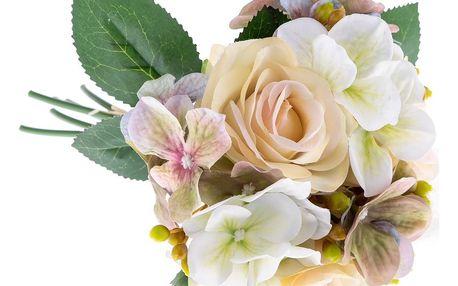 Umělá kytice Růže s hortenzií, béžová