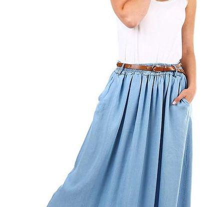Dlouhá riflová dámská sukně s kapsami