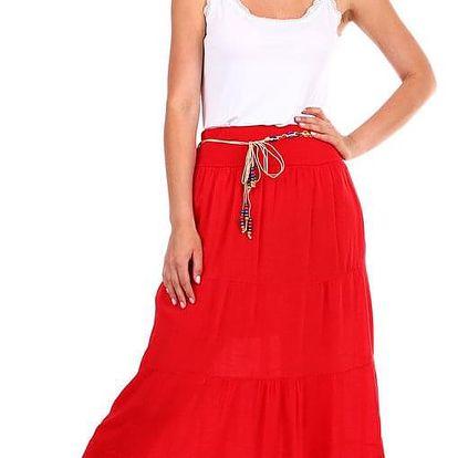 Dámská jednobarevná maxi sukně s korálkovým páskem