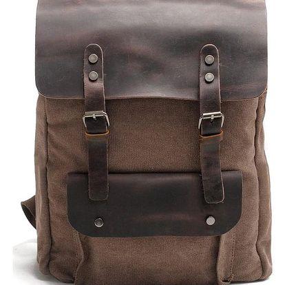 Retro batoh kombinace pravé kůže a plátna