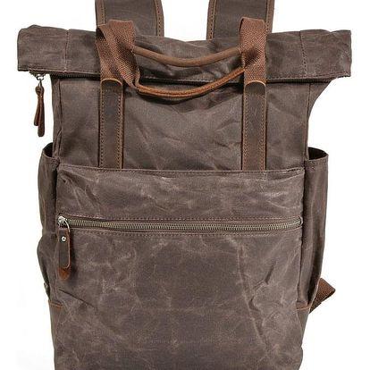 Nepromokavý rolovací plátěný vintage batoh