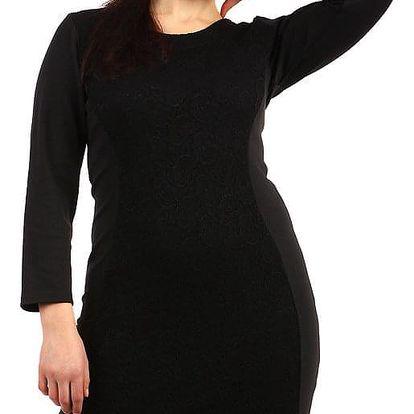Černé šaty s krajkou a dlouhým rukávem - pro plnoštíhlé