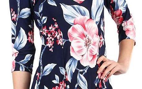 Dámské květované šaty s 3/4 rukávem i nadměrná velikost