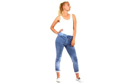 Dámské tepláky v džínovém vzhledu - zkrácené