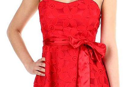Červené dámské šaty bez ramínek