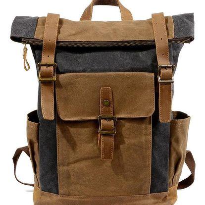 Retro rolovací plátěný batoh