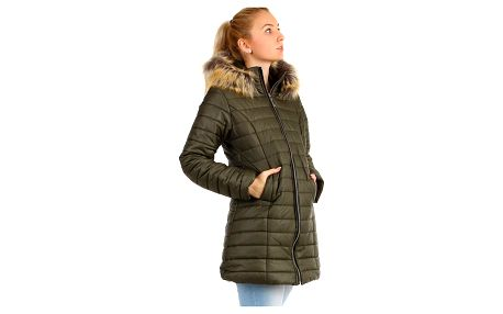 Zimní prošívaný dlouhý kabát s kožíškem