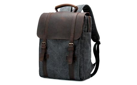 Retro batoh s koženou klopou