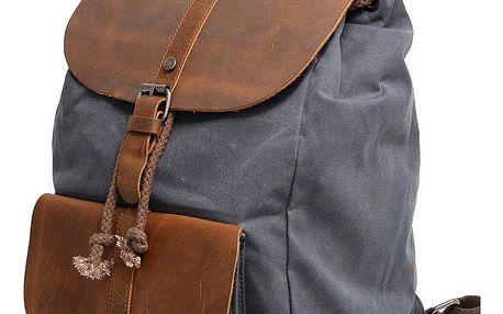 Voděodolný plátěný retro batoh s koženými doplňky