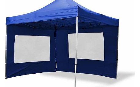 Garthen PROFI 371 Zahradní párty stan nůžkový 3x3 m modrý + 2 boční stěny