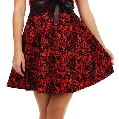 Dvoubarevné áčkové šaty s krajkou