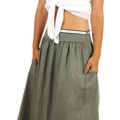 Dámská lněná dlouhá sukně s kapsami