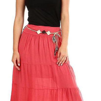 Dámská dlouhá sukně s ozdobným páskem