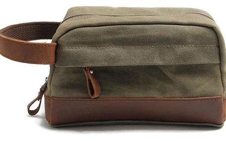 Plátěná taška na kosmetiku s koženými detaily