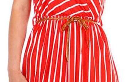 Pruhované dámské šaty- zavinovací efekt