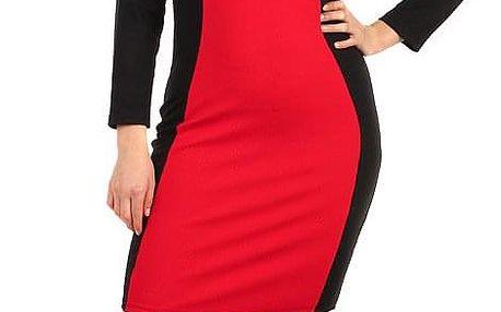 Červeno-černé šaty s dlouhým rukávem - pro plnoštíhlé