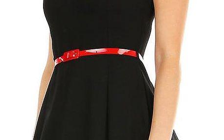 Retro dámské společenské černé šaty s páskem