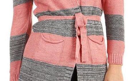 Dlouhý pruhovaný svetr s páskem