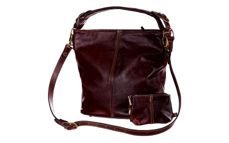 Prostorná kožená kabelka - Česká výroba