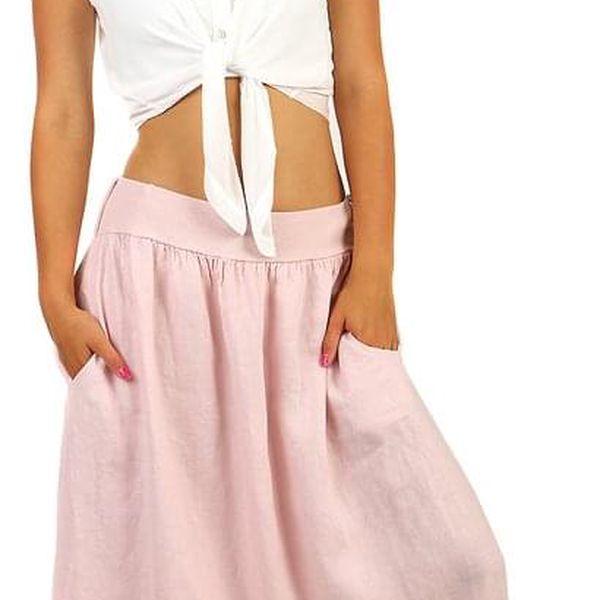 Dámská lněná dlouhá sukně s kapsami2