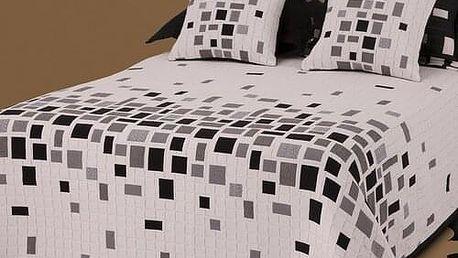 Forbyt Přehoz na postel Derby černobílá, 240 x 260 cm