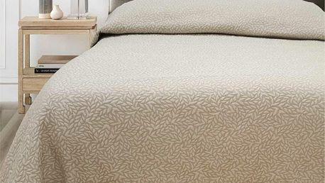 FORBYT Přehoz na postel Leaf béžová, 240 x 260 cm