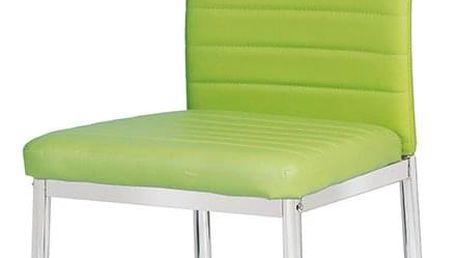 Jídelní židle, koženka zelená / chrom