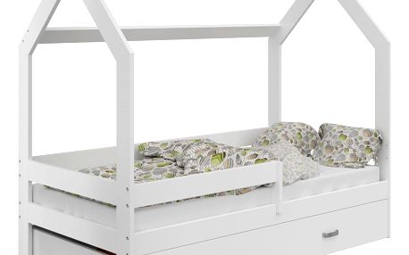 Dětská postel Domek 80x160 cm D3, rošt ZDARMA - bílá bez matrace bílá bílá