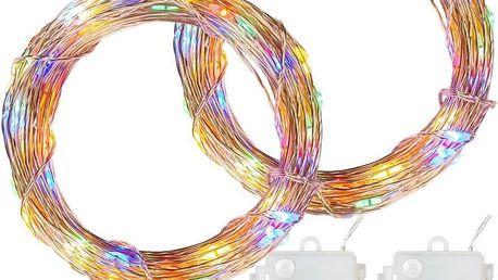 VOLTRONIC 68029 Sada 2 kusů světelných drátů - 100 LED, barevná, na baterie