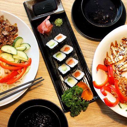 Asijské menu pro dva: sushi, nudle a nápoj