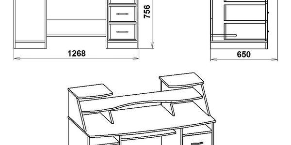 PC stůl KOMFORT-5 buk5