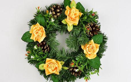Dušičkový věnec s růžemi 25 cm, žlutá
