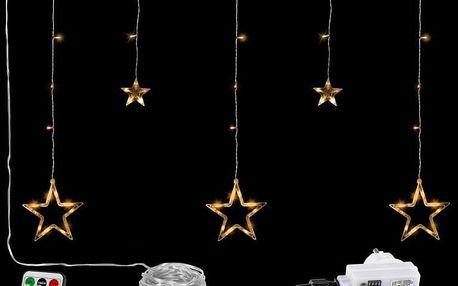 VOLTRONIC® 67309 Vánoční závěs - 5 hvězd, 61 LED, teple bílý + ovladač