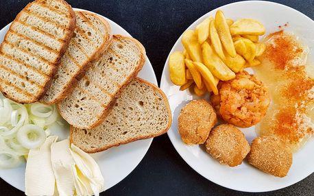 Tři druhy tvarůžkových jídel a přílohy pro 2 osoby